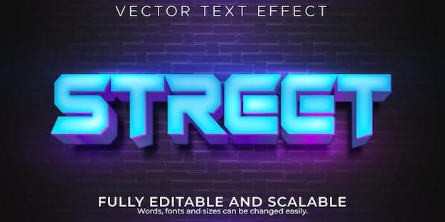 Neon street text-effekt, bearbeitbarer retro- und leuchtender textstil