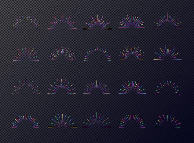 Neon sunburst stellte bunten stil lokalisiert auf dunklem transparentem hintergrund ein