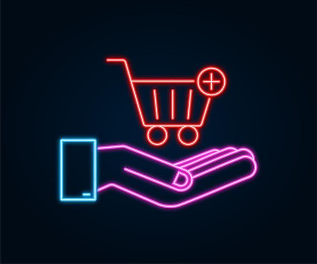 Neon-symbol mit den händen in den warenkorb legen. einkaufswagen-symbol. vektor-illustration.