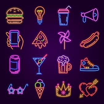 Neon-symbole. leuchtendes licht für disco-party. nachtclub- oder barschilder. burger, pizza, cocktail, hand mit telefon- und modebrillen-vektorsatz. glänzende accessoires wie glühbirne, sneaker, megaphon