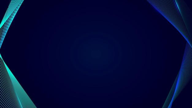 Neon-synthwave-grenze auf einem dunkelblauen blog-banner-vorlagenvektor