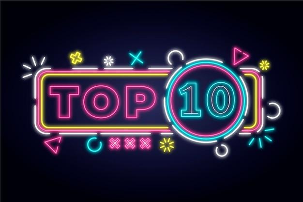 Neon top ten zeichen mit bunten formen