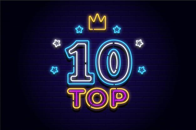 Neon top ten zeichen