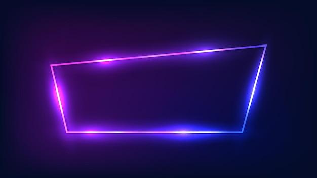 Neon-trapezrahmen mit glänzenden effekten auf dunklem hintergrund. leere leuchtende techno-kulisse. vektor-illustration.