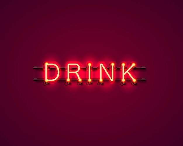 Neon trinken textsymbol schild auf rotem hintergrund. vektor-illustration
