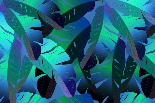 Neon tropisches nahtloses muster mit palmblättern.