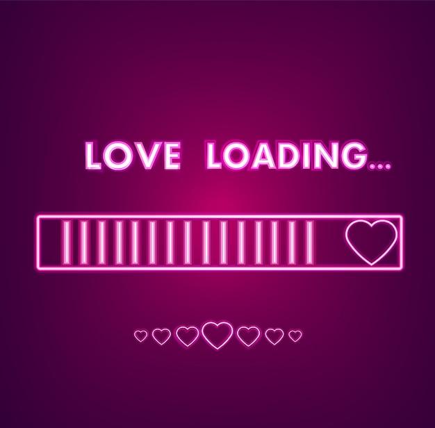 Neon-valentinstag-symbolkarte