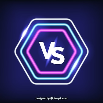 Neon versus hintergrund mit modernen formen