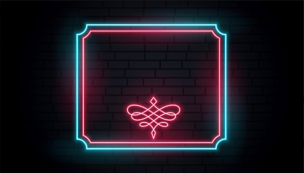 Neon vintage rahmen mit textraum