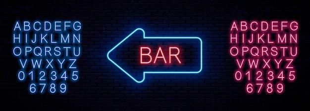 Neon vorlage schild bar. neon leuchtende buchstaben. englisches alphabet und zahlen. rot und blau.
