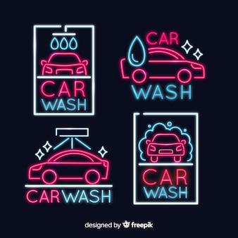 Neon-waschanlage-zeichen-auflistung
