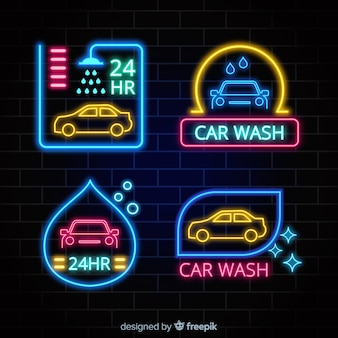 Neon-waschanlage-zeichensammlung