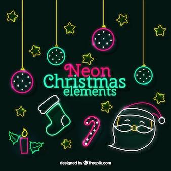 Neon weihnachten elemente pack