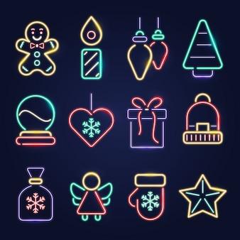 Neon weihnachten elementsammlung