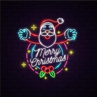 Neon weihnachtsmann mit frohen weihnachtsbotschaft