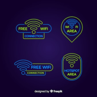 Neon wifi zeichen sammlung