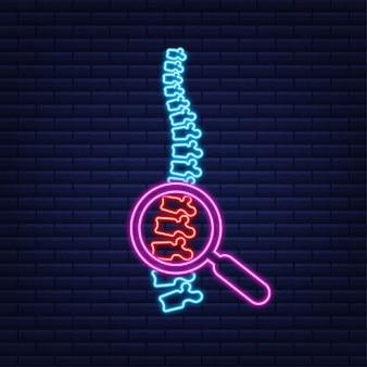 Neon wirbelsäule menschliches grafiksymbol. menschliche anatomie. vektorgrafik auf lager.