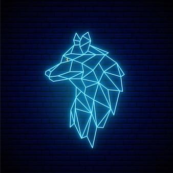 Neon wolf zeichen.