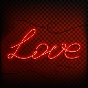 Neon wort liebe. ein helles rotes zeichen element des designs für einen glücklichen valentinstag. illustration.