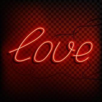 Neon wort liebe. ein leuchtend rotes zeichen auf einem auf einem transparenten hintergrund. element des entwurfs für einen glücklichen valentinstag.