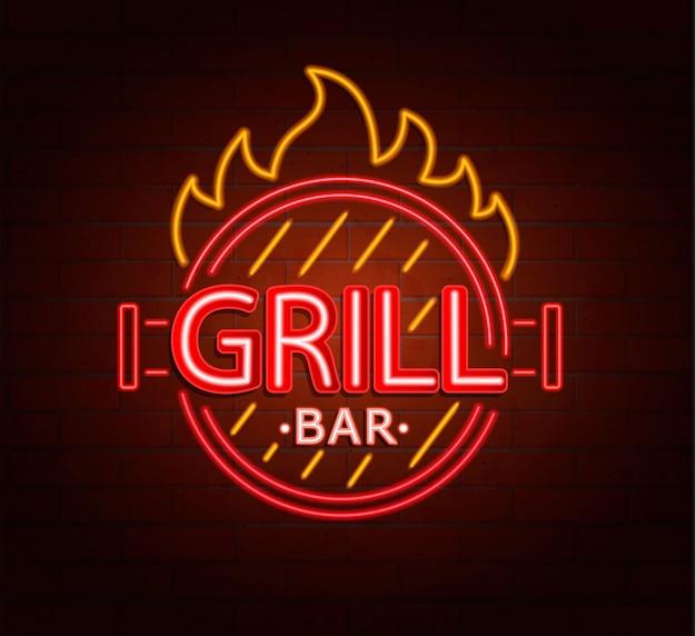 Neon-zeichen der grill-bar.