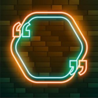 Neon-zitatrahmen mit texteffekt
