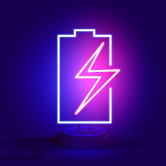 Neonbatterie mit reißverschluss auf dem ständer leuchtet im dunkeln.