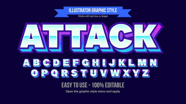 Neonblau und lila 3d chrome bold editable text effect