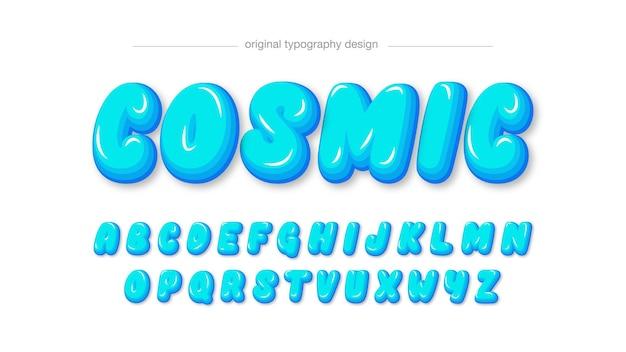 Neonblaue abgerundete cartoon-typografie