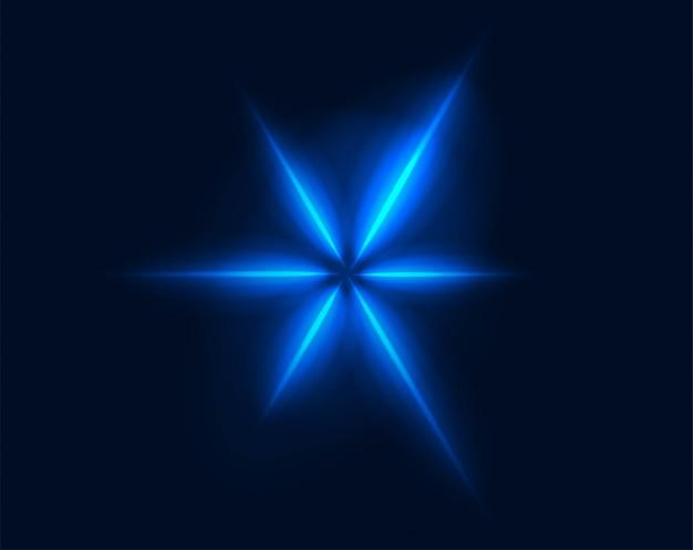 Neonblaue strahlenvektor der abstrakten blume, die geometrischen burst-sternmuster glüht