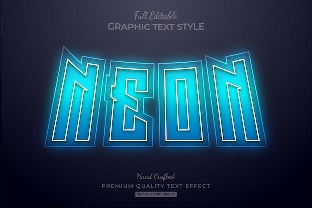 Neonblauer bearbeitbarer texteffekt-schriftstil