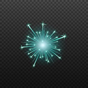 Neonblaues feuerwerk oder feuerwerkskörperikone realistisch isoliert.