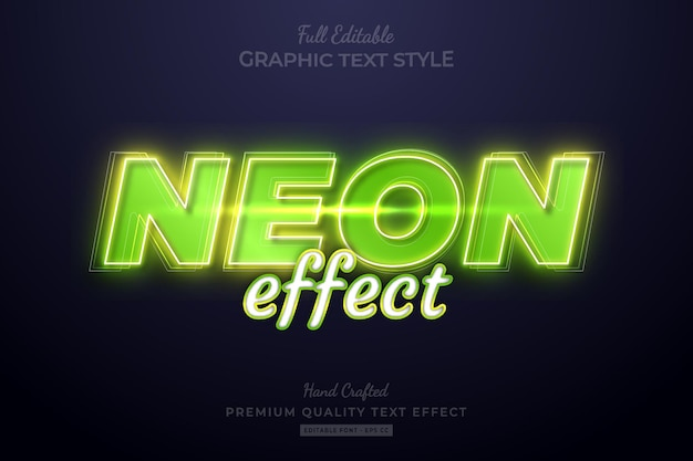 Neoneffekt grüner bearbeitbarer premium-texteffekt