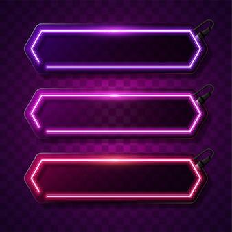 Neonfahnen-vektordesign. neonrahmen.