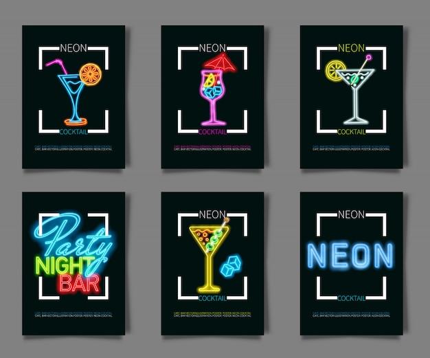 Neonfarben auf einem schwarzen hintergrund cocktailparty