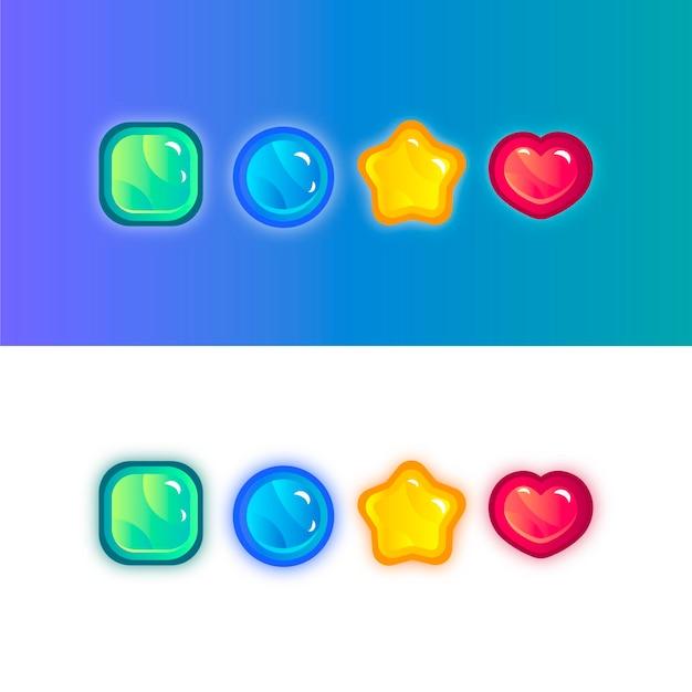 Neonfarbener kristallknopf. vektor-illustration