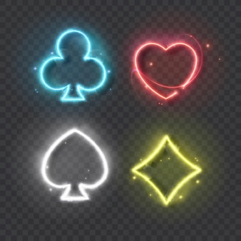 Neonfarbenes kartenspiel zum spielen von poker und casino auf schwarzem hintergrund
