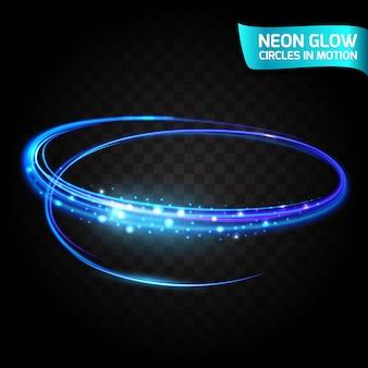 Neonglühen kreist in der bewegung unscharfe ränder, helles glühenblenden, magisches glühen, bunter designfeiertag ein. abstrakte leuchtende ringe verlangsamen die verschlusszeit des effekts. abstrakte lichter in einer kreisbewegung