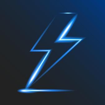 Neonglühender blitz auf dunklem hintergrund. elektrisches zeichen. risiko eines elektrischen schlages. atmosphärische elektrizität. vektor-illustration. eps10.