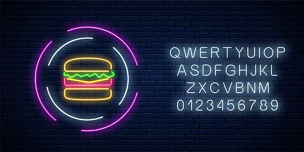 Neonglühendes burgerzeichen in den kreisrahmen mit alphabet auf einem dunklen backsteinmauerhintergrund. fastfood-licht-reklametafel-symbol. vektor-illustration.