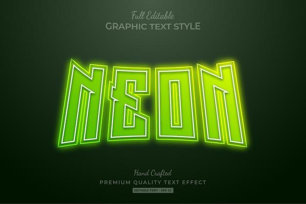 Neongrüner bearbeitbarer premium-texteffekt