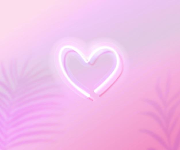 Neonherz, das auf rosa farbverlaufshintergrund mit tropischen blättern glüht, schattenüberlagerung valentinstag