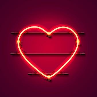 Neonherzschild auf rotem grund. vektor-illustration