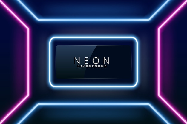 Neonhintergrund mit den blauen und violetten lichtern