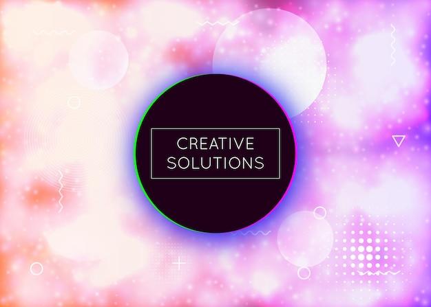 Neonhintergrund mit flüssigen purpurroten formen. leuchtende flüssigkeit. fluoreszierende abdeckung mit bauhaus-gefälle. grafikvorlage für plakat, präsentation, banner, broschüre. schillernder neonhintergrund.