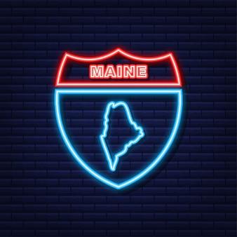 Neonkarte von maine state vereinigte staaten von amerika, alabama-umriss. blau leuchtender umriss. vektor-illustration.