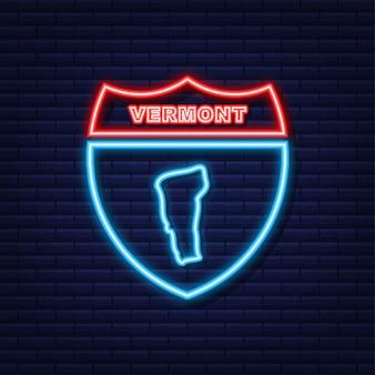 Neonkarte von vermont state vereinigte staaten von amerika, vermont-umriss. blau leuchtender umriss. vektor-illustration.