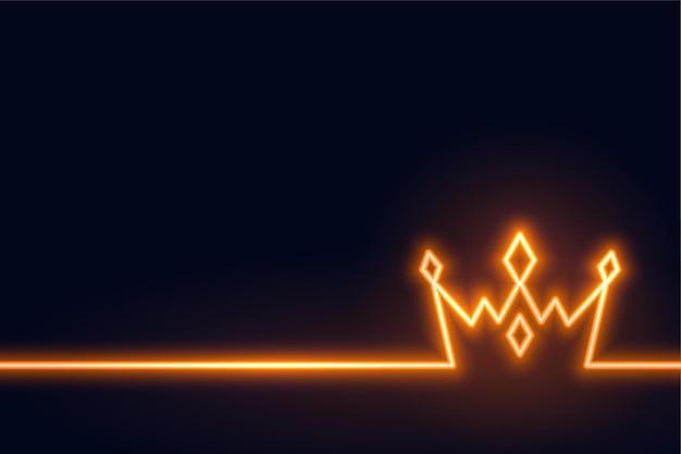 Neonkronenhintergrund im linienstil