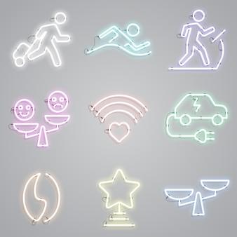 Neonlampen mit ikonenset der öffentlichen plätze