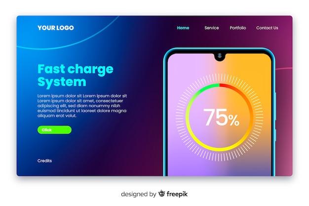 Neonlandingpage mit smartphone